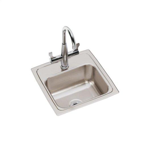 "Elkay Lustertone Classic Stainless Steel 15"" x 15"" x 7-1/8"", Single Bowl Drop-in Bar Sink + Faucet Kit"