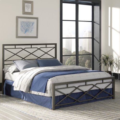 Alpine Metal SNAP Bed with Folding Frame Bedding Support System and Geometric Panel Design, Rustic Pewter Finish, Queen