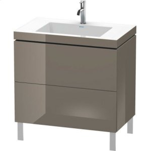 Furniture Washbasin C-bonded With Vanity Floorstanding, Flannel Gray High Gloss Lacquer