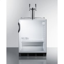 Built-in Undercounter ADA Height Commercially Listed Dual Tap Beer Dispenser With Glass Door, Lock, and Black Cabinet