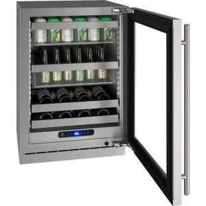 """U-Line 5 Class 24"""" Beverage Center With Stainless Frame (With Lock) Finish And Left-Hand Hinged Door Swing (115 Volts / 60 Hz)"""