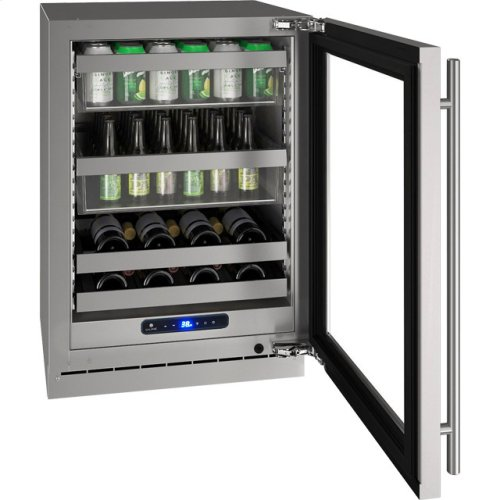 """5 Class 24"""" Beverage Center With Stainless Frame (with Lock) Finish and Right-hand Hinged Door Swing (115 Volts / 60 Hz)"""