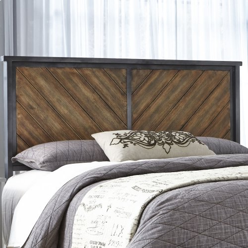 Braden Metal Headboard Panel with Reclaimed Wood Design, Rustic Tobacco Finish, King