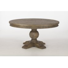 """Colonial Plantation Round Dining Table 54"""" Weathered Teak"""