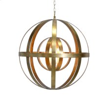 Iron Sphere Gold Leaf Chandelier Ul Approved for One 60 Watt Bulb 3' Matching Chain Included. Additional Chain May Be Purchased Upon Request.