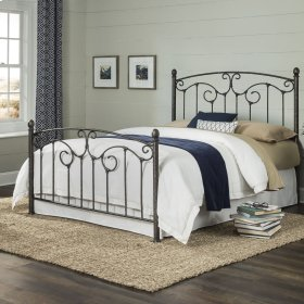 Hinsdale Metal Bed with Sloping Top Rails and Vertical Spindles, Antiqued Pewter Finish, California King
