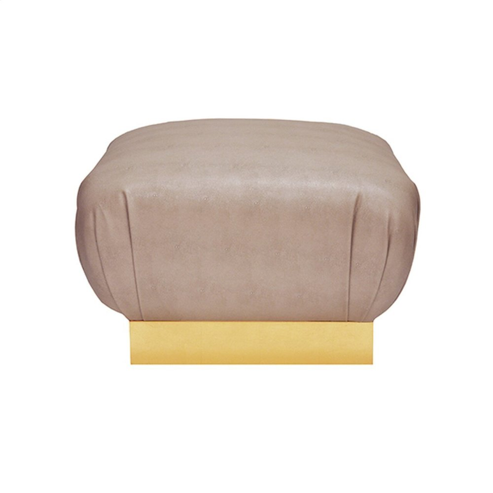 Faux Shagreen Brown Ottoman With Gold Leaf Base - Each Dye Lot May Vary Slightly In Color