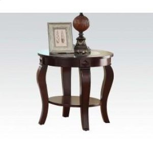 Round End Table W Gl Top N Hidden