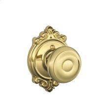 Georgian Knob with Brookshire trim Non-turning Lock - Bright Brass