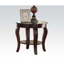 Round End Table W/gl Top @n