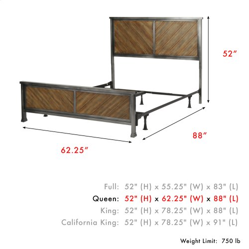 Braden Complete Metal Bed and Steel Support Frame with Rustic Reclaimed Faux Wood in Diagonal Pattern Frame, Rustic Tobacco Finish, Queen