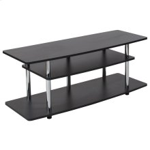 Black TV Stand with Shelves and Stainless Steel Legs
