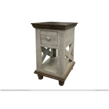 1 Drawer, Chair Side Table, Gray finish