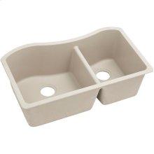 """Elkay Quartz Classic 32-1/2"""" x 20"""" x 10"""", 60/40 Double Bowl Undermount Sink, Bisque"""