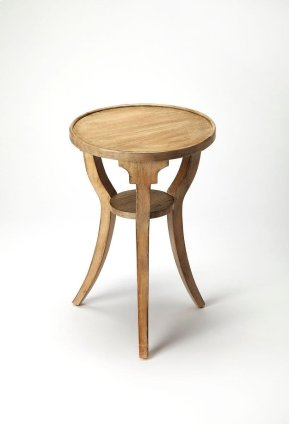 This Driftwood finshed accent table is sure to soften any space. Crafted from select hardwood solids, wood products and birch veneer, this boldly-interpreted classic design has splayed legs for a modern flair. A small display shelf is present at the botto
