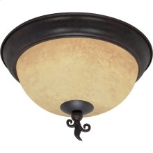 """3-Light 15"""" Old Bronze Flush Mount Ceiling Light Fixture with Tuscan Suede Glass"""