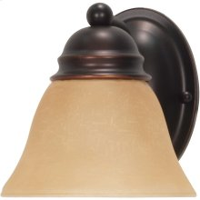 1-Light Wall Mounted Vanity Light Fixture in Mahogany Bronze Finish with Champagne Linen Glass
