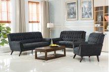 Elston Gray Mid-Century Fabric Sofa