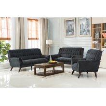Elston Gray Mid-Century Fabric Chair