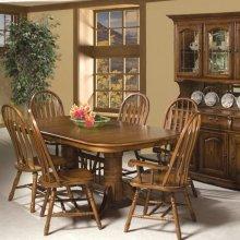Classic Oak Burnished Rustic Trestle Table