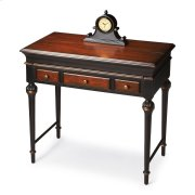 Hand painted finish on poplar hardwood solids and wood products. Cherry veneer top and drawer fronts. As hinged top opens, work/writing surface extends forward. Three drawers with antique brass finished hardware. Includes a built-in power strip. Product Image