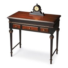 Hand painted finish on poplar hardwood solids and wood products. Cherry veneer top and drawer fronts. As hinged top opens, work/writing surface extends forward. Three drawers with antique brass finished hardware. Includes a built-in power strip.
