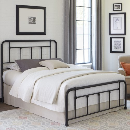 Baldwin Complete Bed with Metal Posts and Detailed Castings, Textured Black Finish, Twin