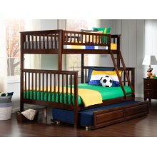 Woodland Bunk Bed Twin over Full with Raised Panel Trundle Bed in Walnut