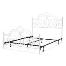 Rhapsody Complete Bed with Curved Grill Design and Finial Posts, Glossy White Finish, King