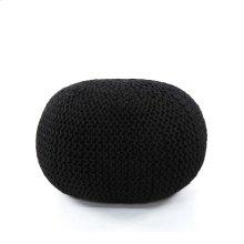Black Cover Jute Knit Pouf