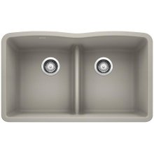 Blanco Diamond Equal Double Bowl With Low-divide - Concrete Gray