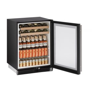 "U-Line1000 Series 24"" Beverage Center With Stainless Frame Finish and Field Reversible Door Door Swing (115 Volts / 60 Hz)"