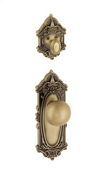 Grandeur - Single Cylinder Combo Pack Keyed Differently - Grande Victorian Plate with Fifth Avenue Knob and Matching Deadbolt in Vintage Brass