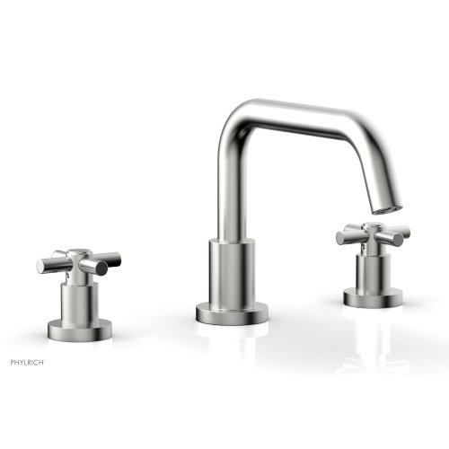 BASIC Deck Tub Set - Tubular Cross Handles D1136D - Satin Chrome