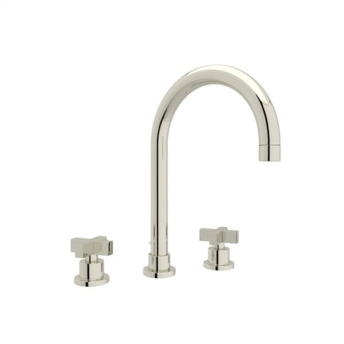 Polished Nickel Pirellone C-Spout Widespread Lavatory Faucet with Cross Handle