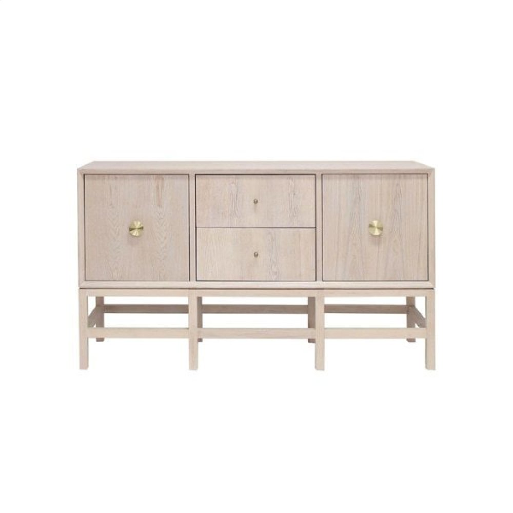 Buffet Cabinet In Cerused Oak With Antique Brass Hardware.