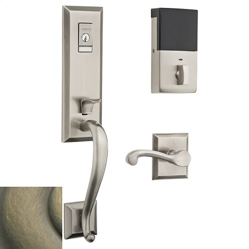 Satin Brass and Black Evolved Stonegate Handleset