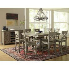 Outer Banks Hi/low Square Storage Dining Table With Four Stools - Driftwood