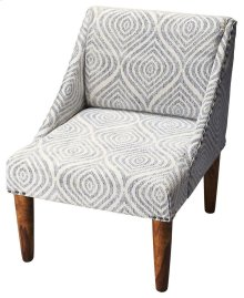 This slipper chair boasts of a contemporary swoop-back armless design, which is upholstered in stone wash printed fabric and is sure to add style to any decor. The sleek and relaxing chair is covered in easy-care premium upholstery grade fabric and is acc