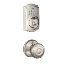 Camelot Trim Keypad Deadbolt paired with Georgian Knob Hall & Closet Lock - Satin Nickel