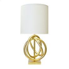 Gold Leaf 3 Ring Table Lamp With White Linen Shade Ul Approved for One 60 Watt Bulb.