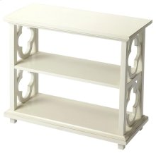 With its open quatrefoil sides, two shelves and open back , this timeless and traditional classic bookcase brings heirloom appeal to the office or living room.