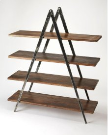 Display photos, books and other cherished items on this stylish modern etagere. Perfect in the living room as a room divider or in the office, its distressed black iron compass-like legs artfully support four shelves made from solid mango in a creosote br