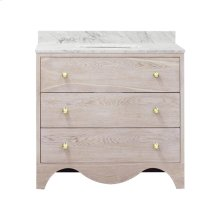 """Bath Vanity With White Marble Top In Cerused Oak With Antique Brass Hardware Features: - White Porcelain Sink Included - Optional White Carrara Marble Backsplash Included - for Use With 8"""" Widespread Faucet (not Included) - Two Working Drawers"""