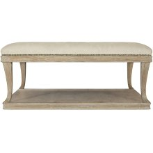Rustic Patina Upholstered Cocktail Table in Sand (387)