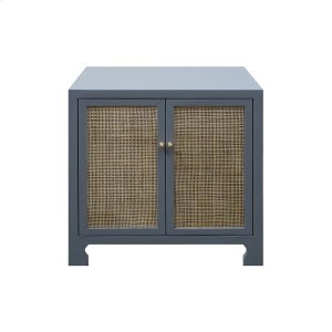 Worlds AwayTwo Door Cane Cabinet With Brass Hardware In Matte Grey Lacquer