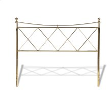 Lennox Metal Headboard Panel with Diamond Pattern Design and Downward Sloping Top Rail, Classic Brass Finish, California King