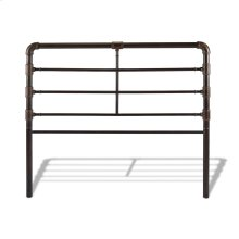 Everett Metal Headboard Panel with Industrial Pipe Design, Brushed Copper Finish, Queen