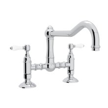 Polished Chrome Italian Kitchen Acqui Deck Mount Column Spout Bridge Kitchen Faucet with Porcelain Lever