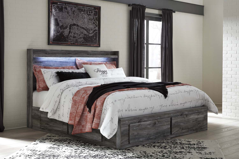 Baystorm   Gray 5 Piece Bed Set (King) Hidden